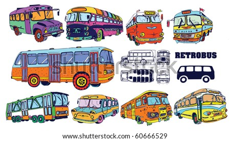 Colorful Vintage Bus Set (vector)