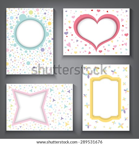 Colorful vintage frames, Greeting cards, kids background, web design, party, carnival or invitation cards, A4 A5 size, Vector Illustration EPS 10. - stock vector