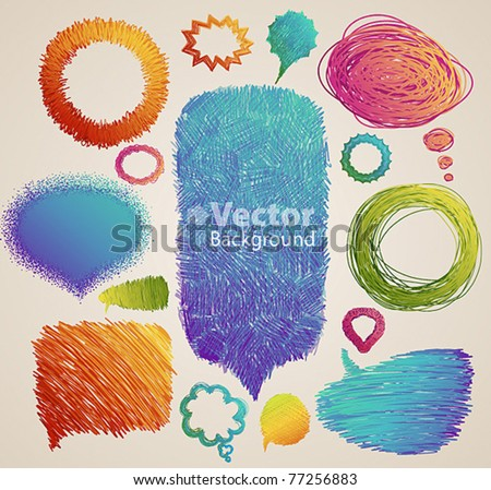 Colorful vintage hand drawn speech and thought bubbles - stock vector