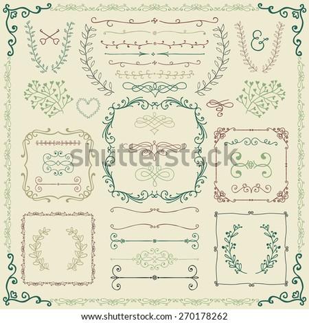 Colorful Vintage Hand Sketched Doodle Design Elements. Decorative Branches, Borders, Frames, Laurels, Dividers. Vector Illustration. - stock vector