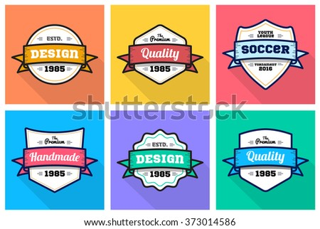 Colorful Vintage Premium quality badge flat set - stock vector