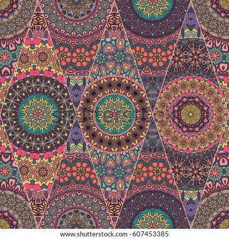 Colorful Vintage Seamless Pattern Floral Mandala Stock ...
