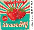 Colorful vintage Strawberry label poster vector illustration - stock photo