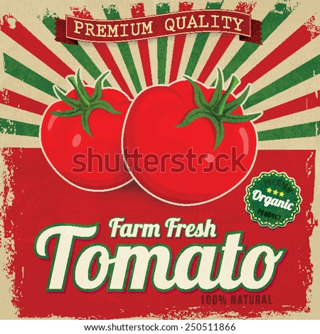 Colorful vintage Tomato label poster vector illustration - stock vector