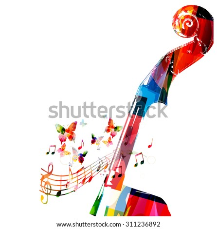 Colorful violoncello pegbox with butterflies - stock vector