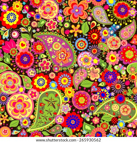 Colorful wallpaper with funny spring flowers and paisley - stock vector
