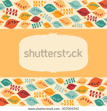 Colorful warm background with leaves and frame for your text