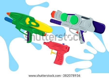 Colorful Water Gun Vector Pack 2 - stock vector