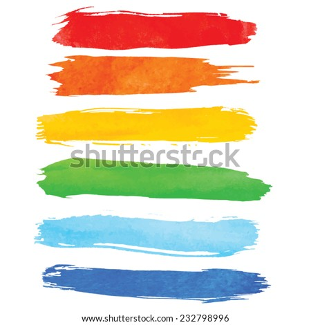 Colorful watercolor brush strokes isolated. Vector illustration