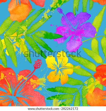 Colorful watercolor frangipani flowers vector seamless pattern - stock vector