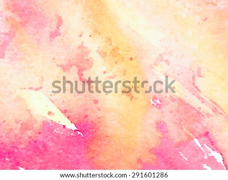 Colorful watercolor hand drawn paper texture torn splatter banner. Wet brush painted smudges ans strokes abstract vector illustration. Pink yellow artistic background. Design card, template, cover - stock vector