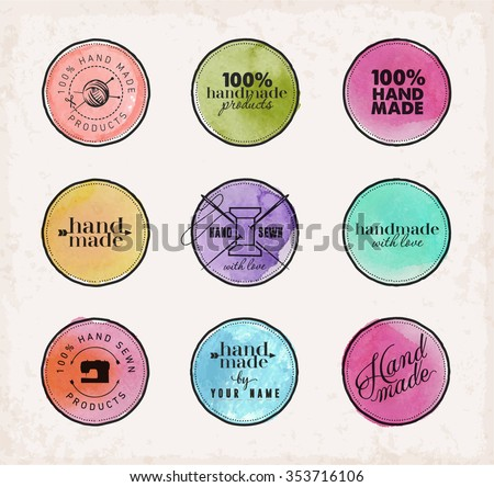 Colorful Watercolor Hand Sewn Labels on Beige Background - stock vector