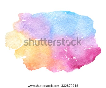 Colorful watercolor smudges brush painted isolated spot on white background. Abstract wash hand drawn blue yellow orange pink violet purple vector illustration. Artistic paper texture design element - stock vector