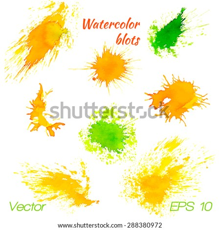 Colorful watercolor splashes isolated on white background. Vector illustration. Vector EPS10.
