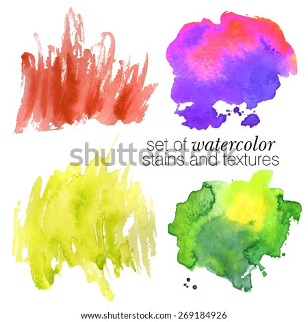 colorful watercolor stains (pink, violet, green, orange)  with rough strokes and edges in grunge style, stroke brush and the paint texture - isolated on white background vector illustration - stock vector