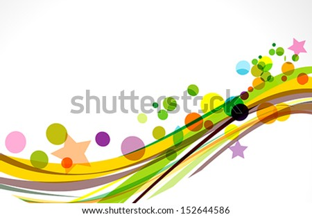 colorful wave background with stars vector illustration  - stock vector