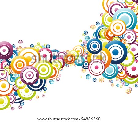 Colorful wave made of colorful circles. Vector illustration - stock vector