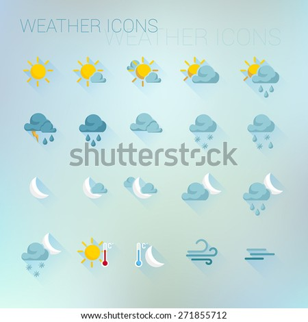 Colorful weather icon set on light blue blurred background - stock vector