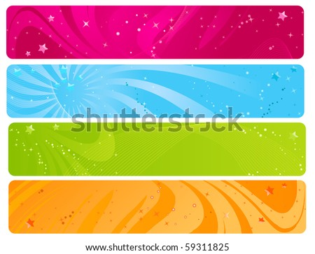 Colorful web banners with wave design and glossy stars - stock vector