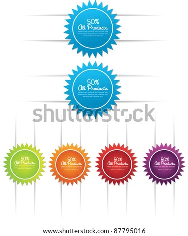 colorful web curve label or sticker - stock vector