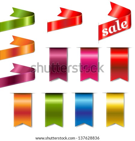 Colorful Web Ribbons Big Set With Gradient Mesh, Vector Illustration - stock vector