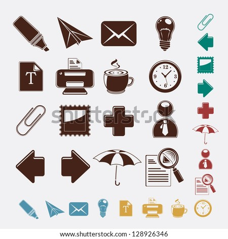 Colorful web set icons - stock vector