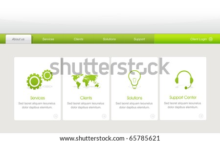 Colorful Website Menu template with icons set - stock vector
