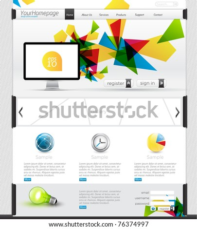 Colorful Website Template with clean design, detailed icons and content slider - stock vector