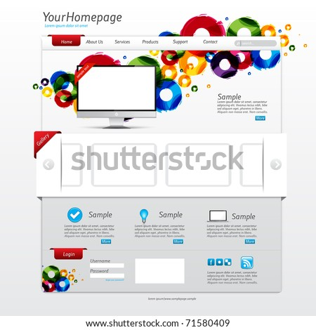 Colorful website template with clean modern design and gallery slider - stock vector