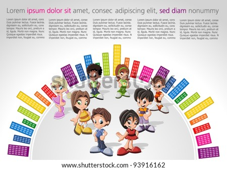 Colorful website Template with kids - stock vector
