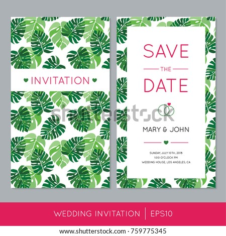 Colorful wedding invitation template tropical palm stock vector colorful wedding invitation template with tropical palm leaves vector save the date cards with jungle stopboris Images
