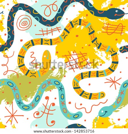 Colorful whimsical pattern with funny snakes. Vector seamless background - stock vector