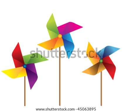 colorful windmill vector - stock vector