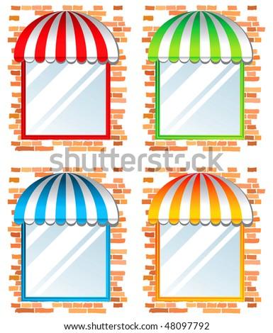 colorful windows - stock vector
