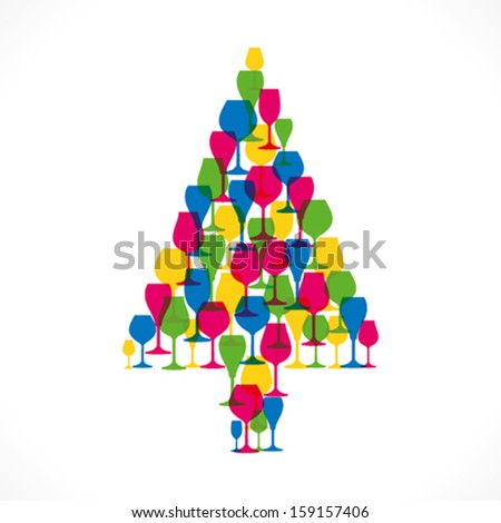 colorful wine glass Christmas tree vector - stock vector