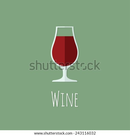 Colorful wine icon. Vector drink. Flat design. - stock vector