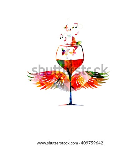 Colorful wineglass with wings - stock vector