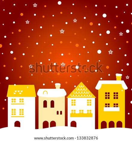 Colorful winter christmas town with snow behind - stock vector