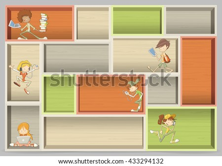 Colorful wood shelf with cartoon teenager students with laptops, tablets and smart phones - stock vector