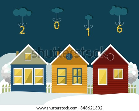 Colorful Wooden Houses In The Mountains. Merry Christmas And Happy New Year Cards - stock vector