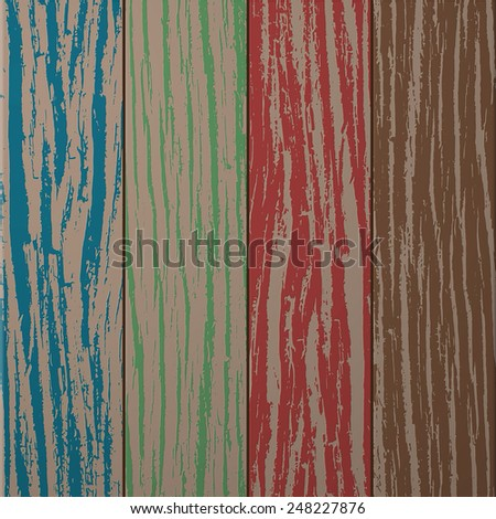 Colorful wooden plank texture, vector background illustration - stock vector