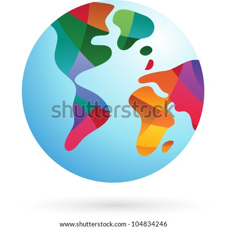 Colorful world, Earth icon, vector illustration - stock vector