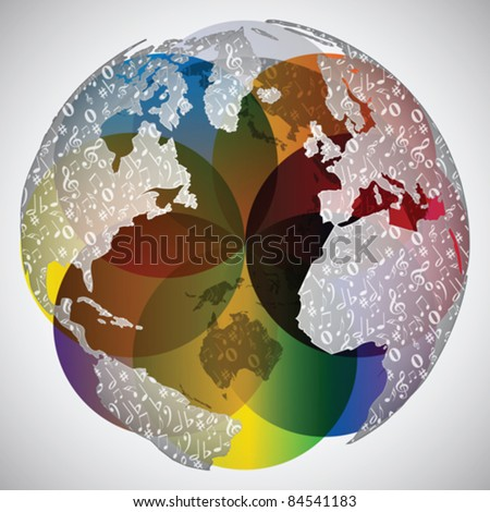 colorful world globe with musical notes on it - stock vector