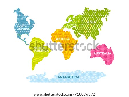 Colorful world map continents patterns africa vector de colorful world map continents with patterns africa america asia europe gumiabroncs