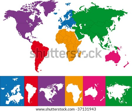 Colorful world map illustration. Abstract background. - stock vector