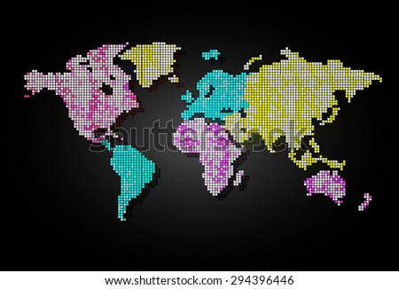 colorful World map pixel table illustration on black background. vector. dot. point, spot. tile mosaics. Dotted round colorful world map. - stock vector