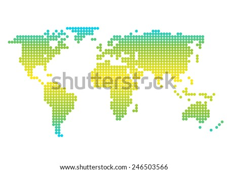 Colorful world map showing Earth with all continents. - stock vector