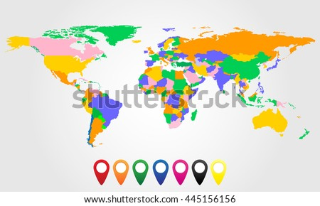 Colorful world map with colored markers. Vector illustration.