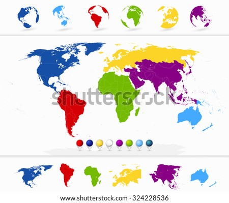 Colorful World Map with Continents and Globes. - stock vector