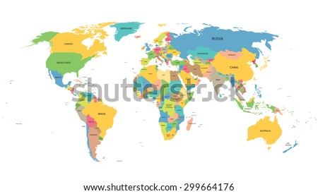 colorful world map with names of all countries